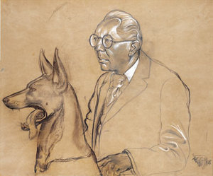 Hugo Erfurth with his Dog Ajax